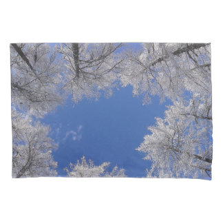 Snow Covered Trees And Sky Pillowcase
