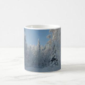 Snow covered trees basic white mug