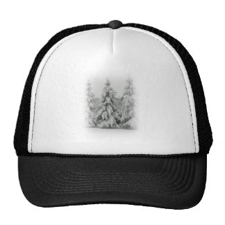 Snow covered trees trucker hat