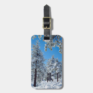 Snow-covered trees in the Laguna Mountains Travel Bag Tag
