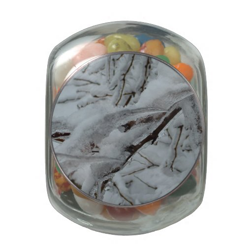 Snow Covered Trees Glass Candy Jars