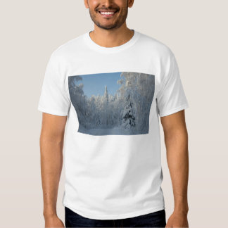 Snow covered trees tee shirts