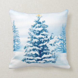 Snow Covered Trees Throw Pillow Throw Cushion