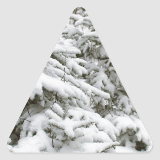 Snow Covered Trees Triangle Sticker