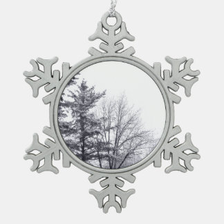 Snow-covered Trees: Vertical Pewter Snowflake Decoration