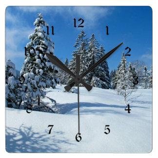 Snow-Covered Trees, Winter Scene Clocks