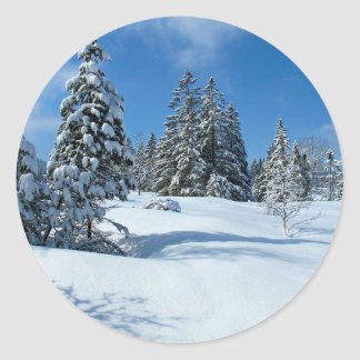 Snow-Covered Trees, Winter Scene Round Sticker
