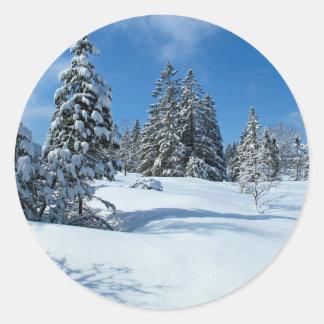 Snow-Covered Trees, Winter Scene Round Sticker