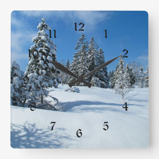 Snow-Covered Trees, Winter Scene Square Wall Clock