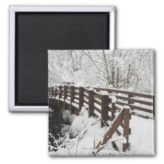 Snow Covered Wooden Bridge Square Magnet