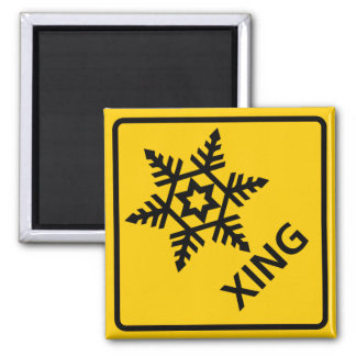 Snow Crossing Highway Sign Magnet