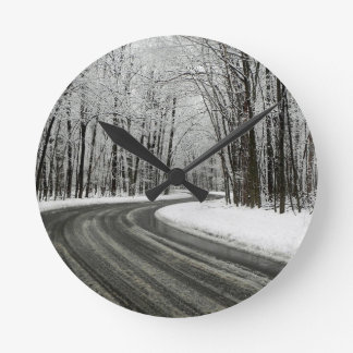 Snow Curved Winding Road Clocks
