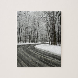 Snow Curved Winding Road Jigsaw Puzzle