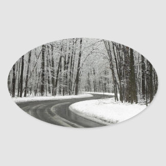 Snow Curved Winding Road Oval Sticker