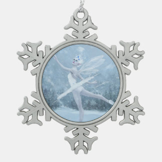 Snow Dancer Snowflake Pewter Christmas Ornament