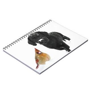 Snow Day Companions - Black Labrador and Cardinal Notebook