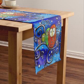 Snow Day II Owl Family in Snowy Tree Table Runner