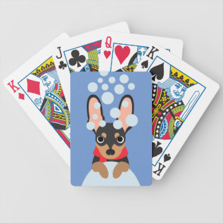 Snow Dog Min Pin Bicycle Playing Cards