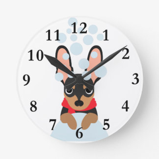 Snow Dog Min Pin Round Clock