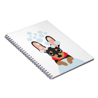 Snow Dog Min Pin Spiral Notebook