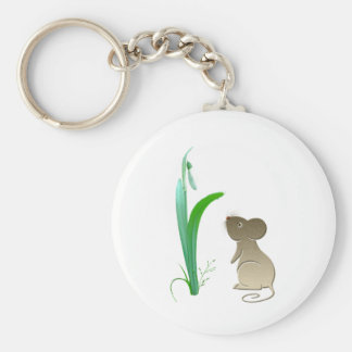 Snow drop flower and Cute Mouse Key Ring