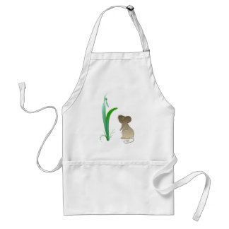 Snow drop flower and cute mouse standard apron