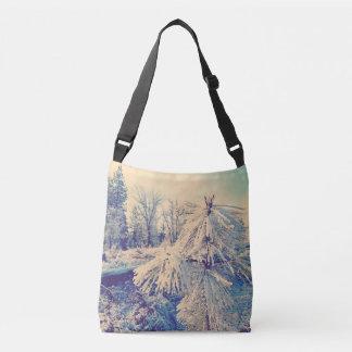 Snow Dust on Pines Crossbody Bag