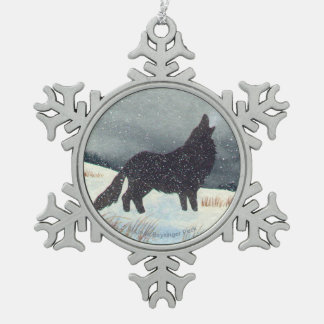 Snow Dusted Wolf Watercolor Pewter Snowflake Decoration