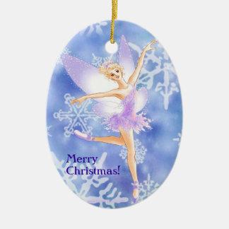 Snow Fairy Ballet Oval Ornament (customizable)