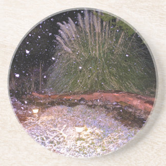 snow falling drink coaster