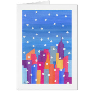 Snow Falling over NYC Greeting Card