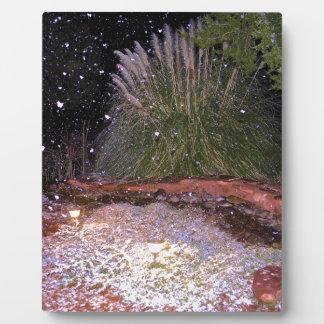 snow falling photo plaque