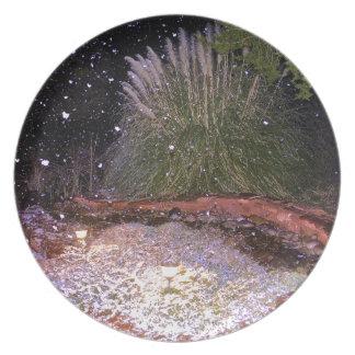snow falling plate