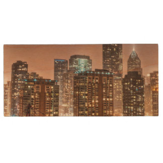 Snow falls over skyline at evening in Chicago Wood USB 2.0 Flash Drive
