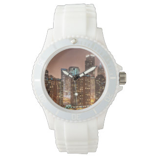 Snow falls over skyline at evening in Chicago Wrist Watches