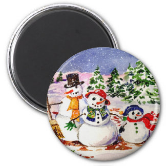 Snow Family 6 Cm Round Magnet
