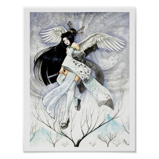 Snow & Feathers Large Geisha Japanese Art Print