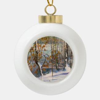 Snow fell ceramic ball christmas ornament