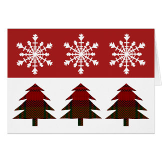 Snow Flake and Plaid Christmas Tree Greeting Card