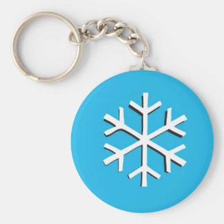 Snow flake basic round button key ring