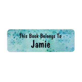 snow flake bookplate return address label