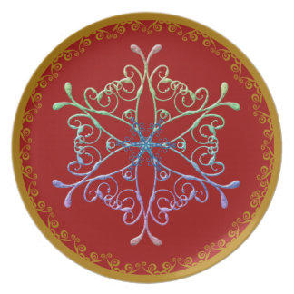 Snow Flake On Red Dinner Plate