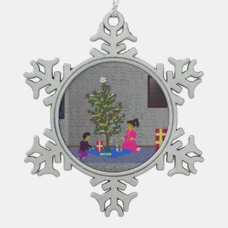 Snow flake snowflake pewter christmas ornament