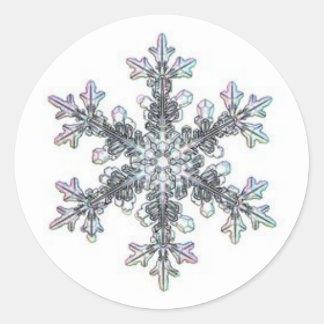 Snow flake round sticker