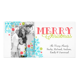 Snow flakes and polka dots personalized photo card
