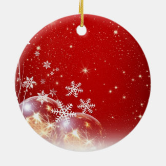 Snow flakes at Christmas Round Ceramic Decoration