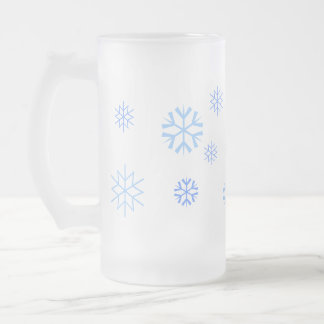 Snow Flakes Frosted Glass Mug