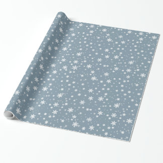 Snow Flakes on Blue Gray Wrapping Paper