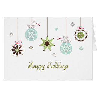 Snow Flakes Ornaments Holiday Greetings Card