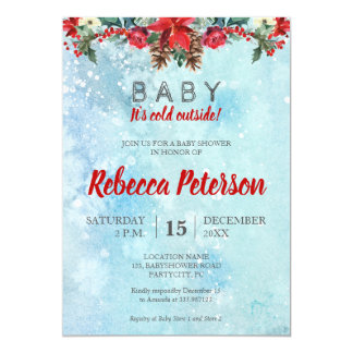 Snow Floral Winter Baby Shower invitation card